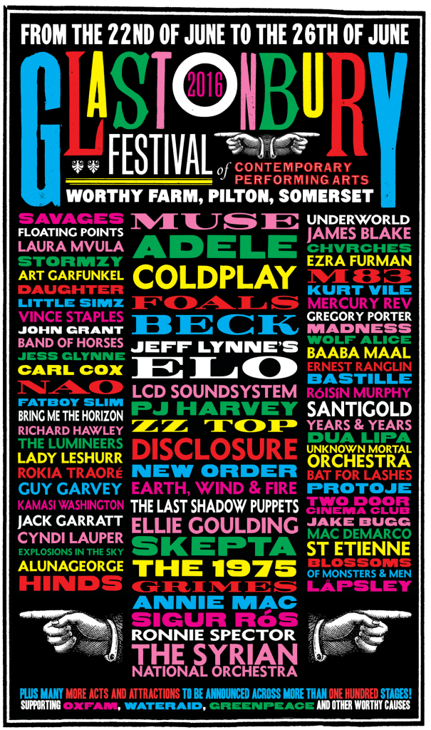 Glastonbury Festival 2016 Line-Up-Poster