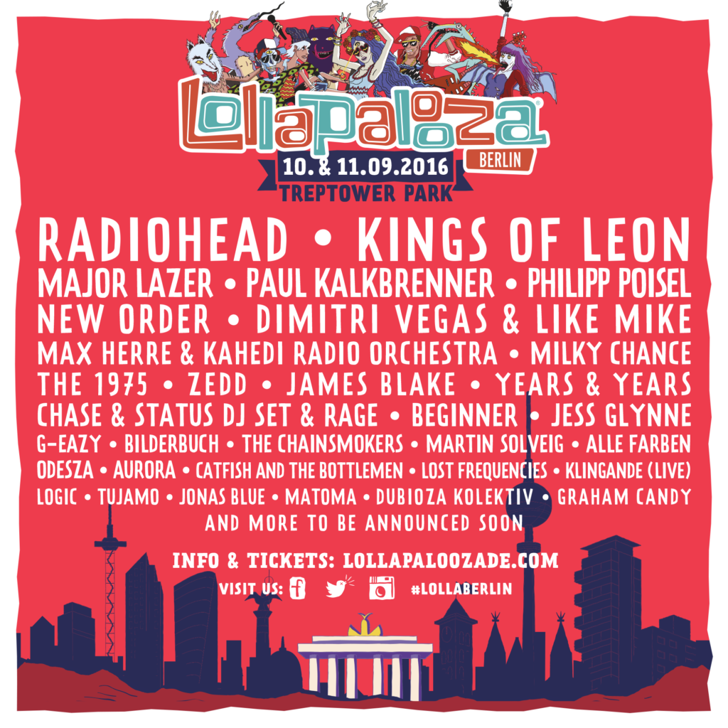 Lollapalooza Berlin 2016 Line Up