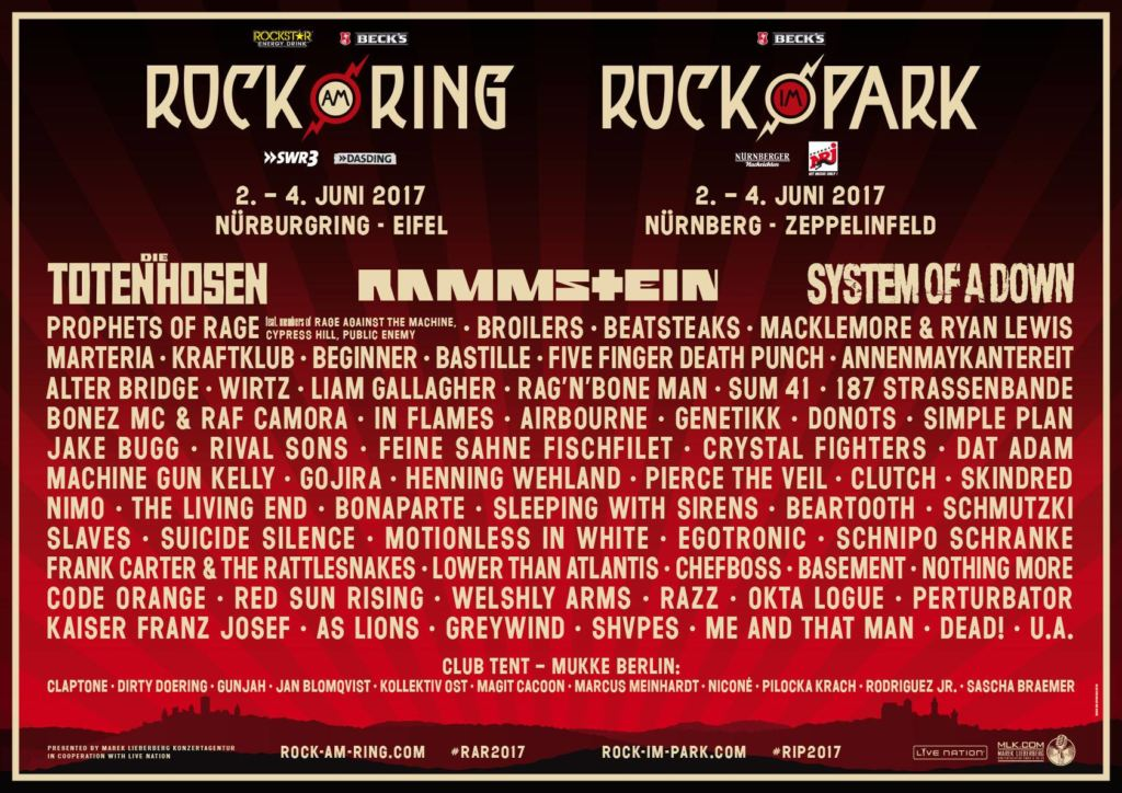 Rock am Ring / Rock im Park 2017 Lineup