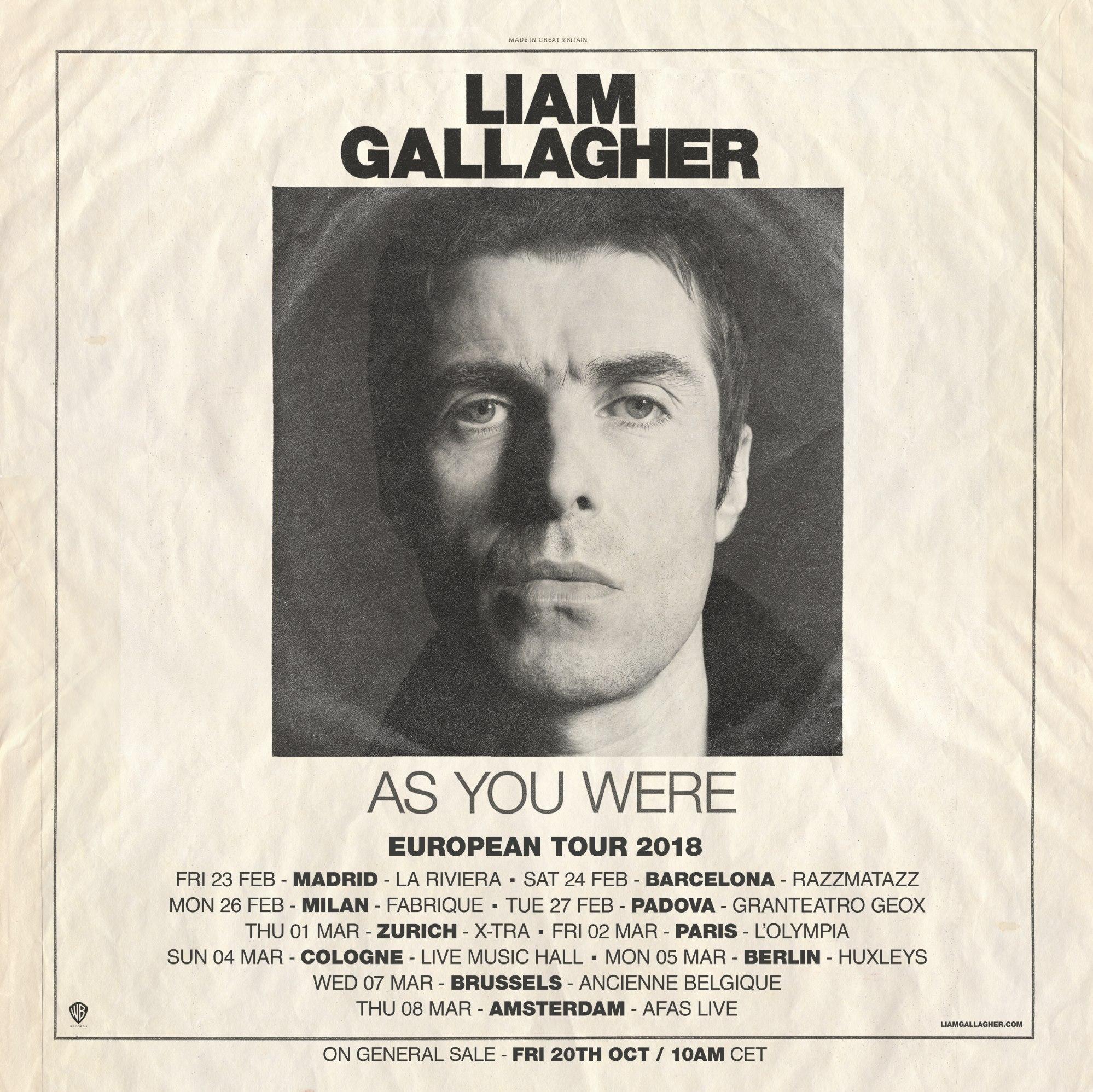 Liam Gallagher - European Tour 2018