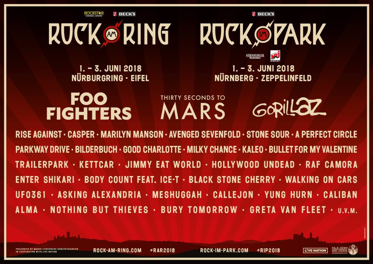 Rock am Ring / Rock im Park 2018 - Lineup