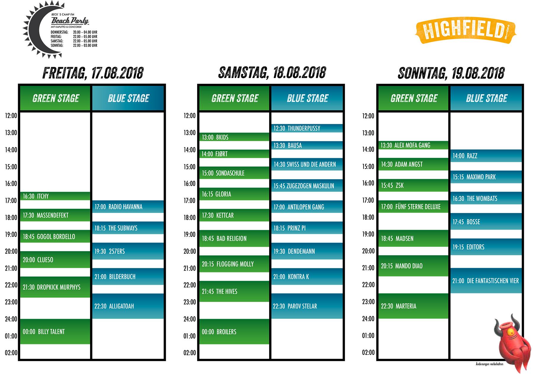 Highfield Timetable 2018