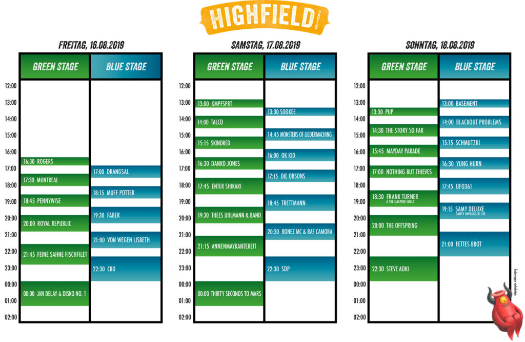 Highfield Festival 2019 - Timetable